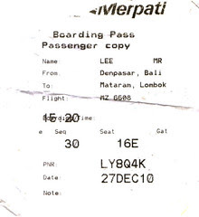 Merpati Bali to Lombok Air Ticket