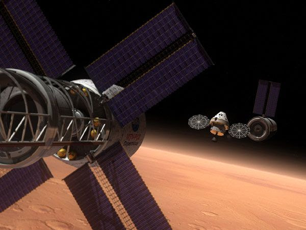 An artist's concept of the Multi-Purpose Crew Vehicle (MPCV) in orbit above Mars.