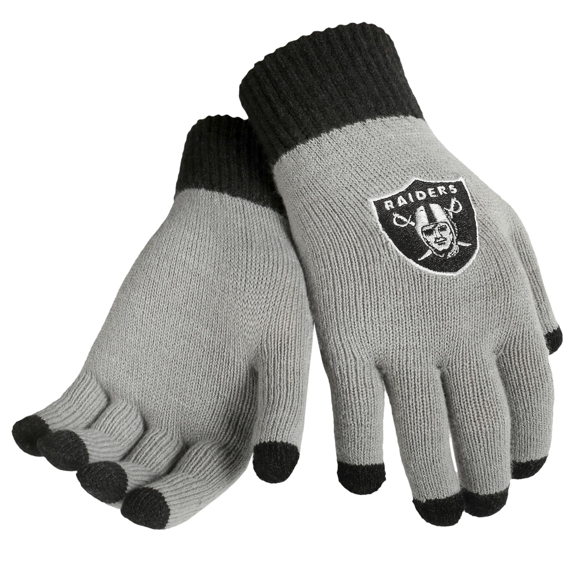 NFL Mens Knit Texting Gloves  Oakland Raiders