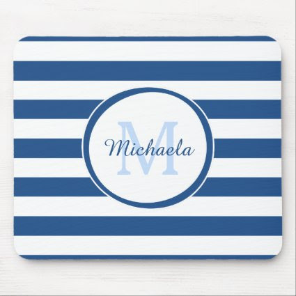 Trendy Blue and White Stripes Monogram With Name Mouse Pad