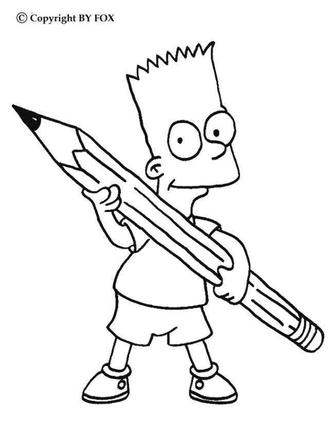 Dibujos Para Colorear Bart Con Un Lápiz Eshellokidscom