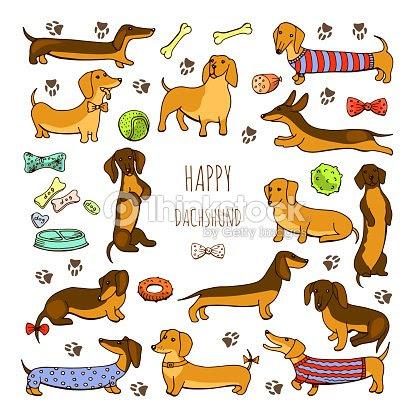 犬のダックスフントのイラストのセット ストックイラストレーション