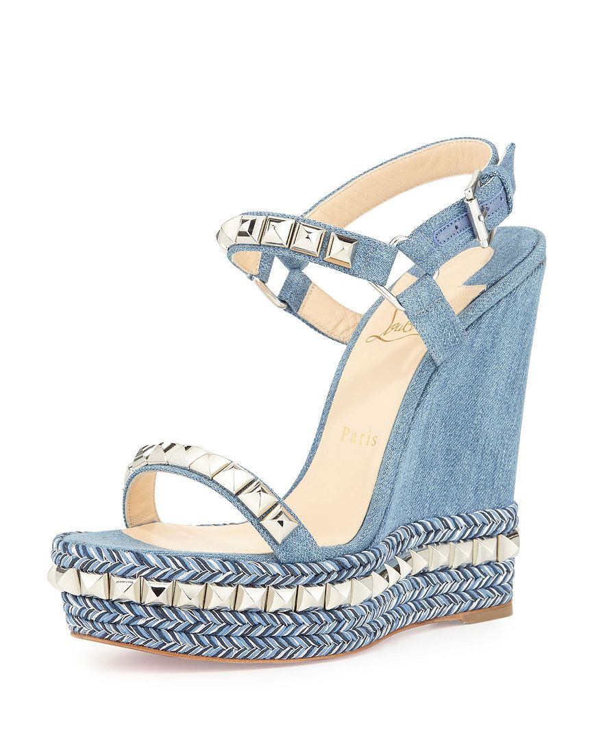 Christian Louboutin Cataclou Denim 140mm Wedge Sandal