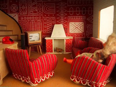 Vintage 1957 Lundby dolls' house lounge,
