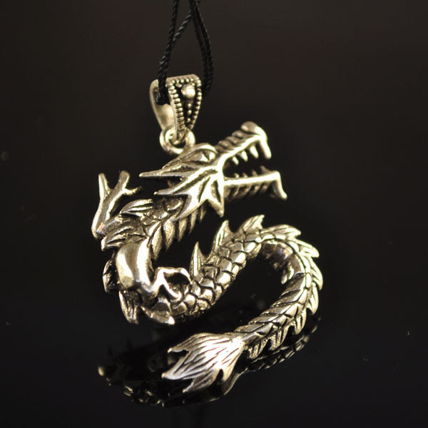 s35332 Pendants -  Chinese Fire Dragon - Sterling Silver (1)
