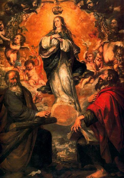 La Inmaculada Concepción con San Felipe y Santiago el Menor, Oil by Juan De Valdés Leal (1622-1690, Spain)