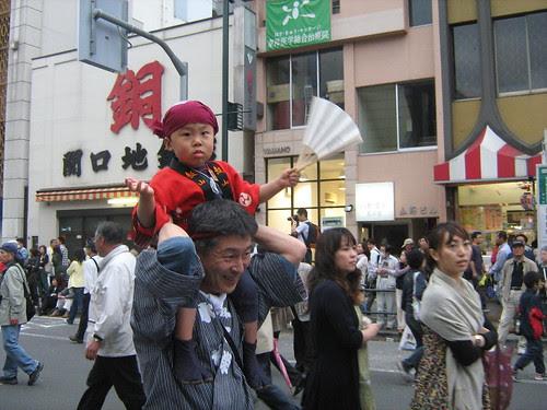 Cute fan-wielding boy at the Sanja Matsuri
