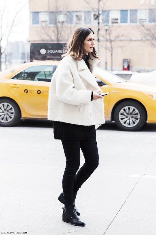 Le Fashion Blog Street Style White Textured Cropped Jacket Oversized Turtleneck Sweater Black Skinny Jeans Leather Block Heel Ankle Boots Via Collage Vintage