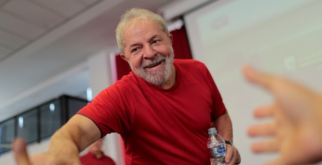 Lula da Silva en sede del Sindicato de los Metalúrgicos de la región metropolitana de Sao Paulo. REUTERS