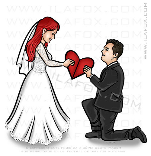 caricatura casal, caricatura romântica, caricatura bonita, caricatura proporcional, caricatura casal segurando coração, by ila fox