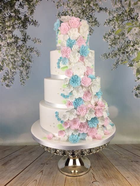Pastel blue and pink blossoms wedding cake   Mel's Amazing