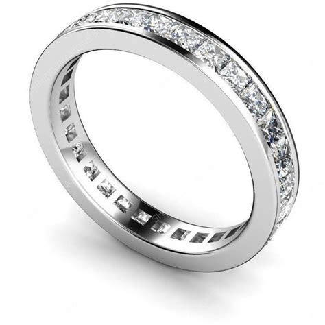 14k Sterling Silver Princess Diamond cut ETERNITY Wedding