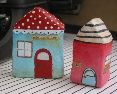 Milk carton papier mâché houses.