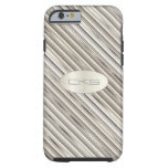 Multi Silver and White Stripes | Monogrammed Tough iPhone 6 Case