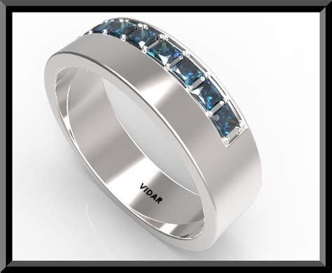 Mens Blue Sapphire Wedding Band   Vidar Jewelry   Unique