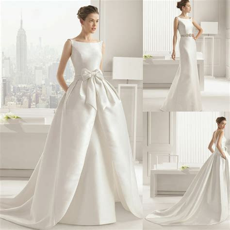 Mermaid White ivory Satin Wedding Dress Bridal Gown