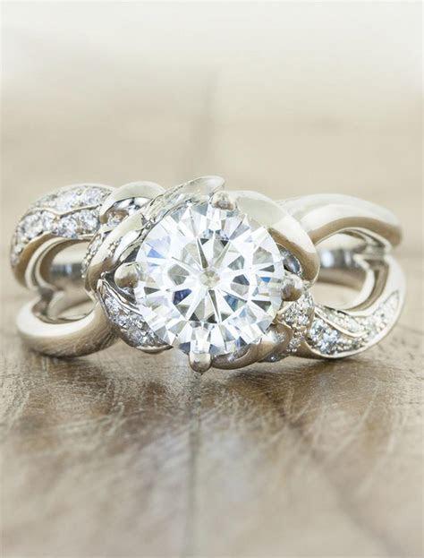 Mazie: Wide Band, Split Shank   Round Diamond Ring   Ken