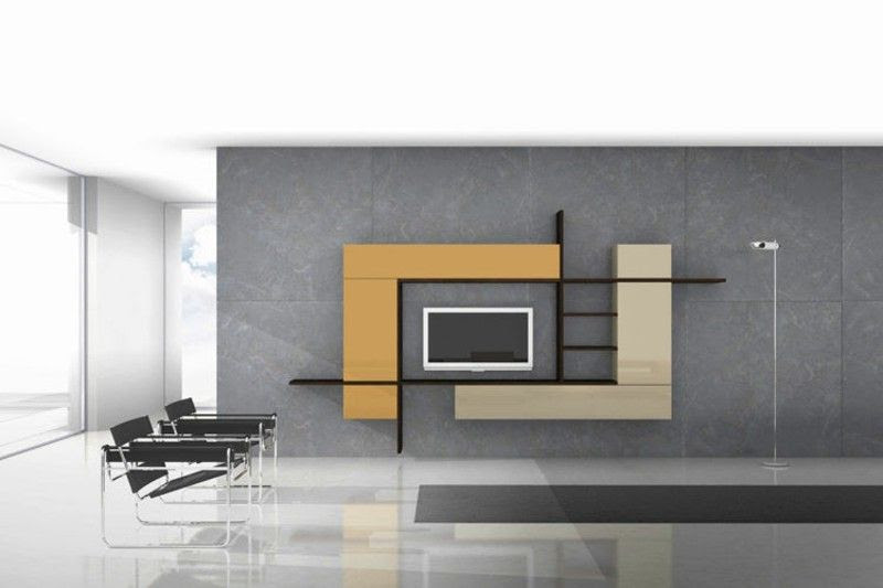 Tv Wall Modern Concrete Wall Tv Cabinet Design Minimalist Living Room