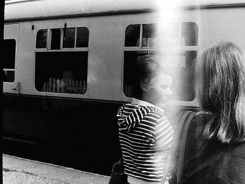 French women at Dartington train station 1977