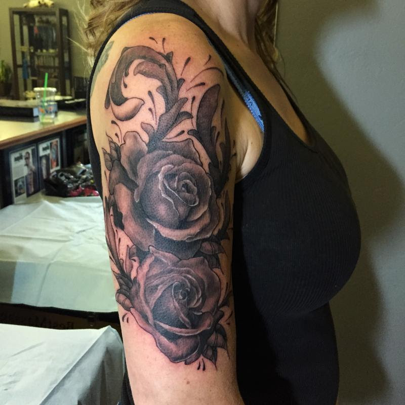 Nic Lebrun Art Tattoos Body Part Shoulder Black And Grey Roses