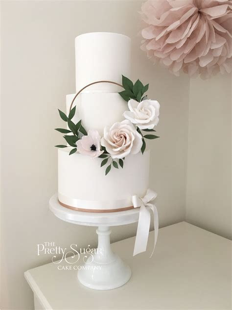 Copper, blush sugar floral hoop wedding cake   Wedding