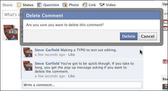 Facebook Comment Editing: Delete Comment Pop-Up