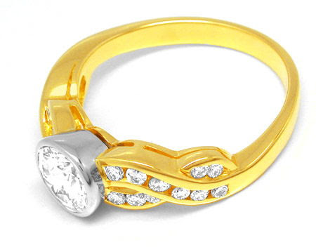 Foto 2, Neu! Brillant-Ring 1,12ct! einmalig! 18K Bicolor Luxus!, S8717