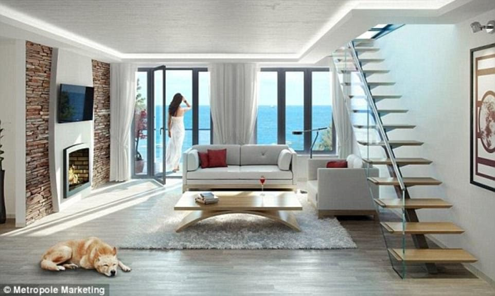 Glossy interiors (pictured, artists' impressions) await the owner of the luxury apartments, most of which have now been sold
