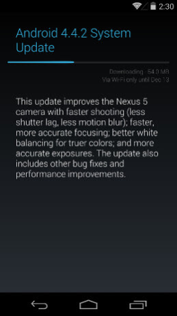 Android 4.4.2 is a 54MB update.