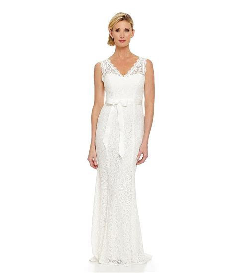 Adrianna Papell V neck Lace Gown Wedding Dress   Wedding