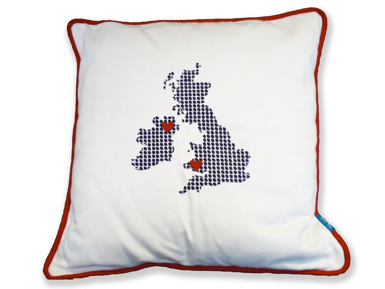 PERSONALISED 'Long Distance Love' UK Ivory Cushion