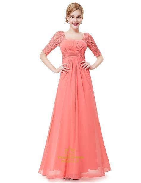 Elegant Peach Long Chiffon Bridesmaid Dresses With Lace