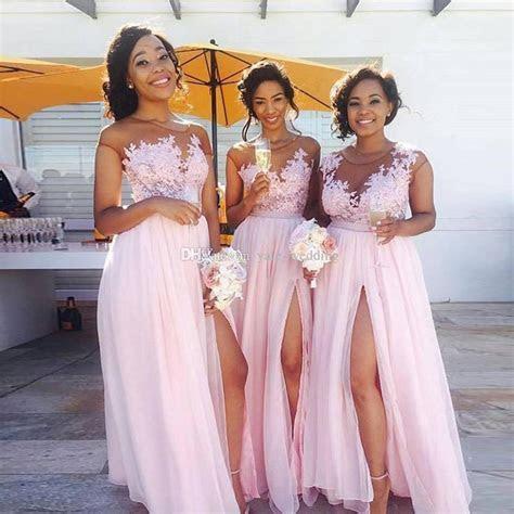 2018 Pink Chiffon Bridesmaid Dresses Sheer Neck Cap