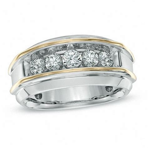 Men's 1 CT. T.W. Diamond Five Stone Band in 10K Two Tone