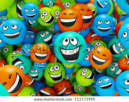 Funny colorful smiles. Positive emotions - stock photo