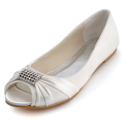 Popular Flat Peep Toe Wedding Shoes Buy Cheap Flat Peep