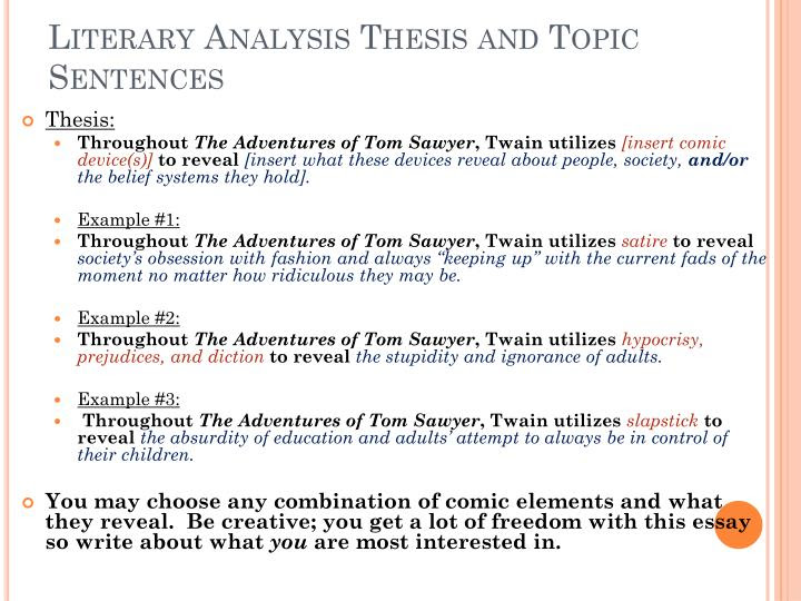 a good thesis statement for a literary analysis