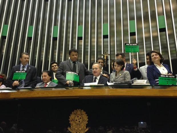 Mesa do Congresso Nacional durante votação dos vetos à Lei dos Royalties (Foto: Fabiano Costa/ G1)