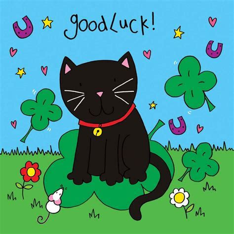 Crystals Good Luck Card   Black Cat