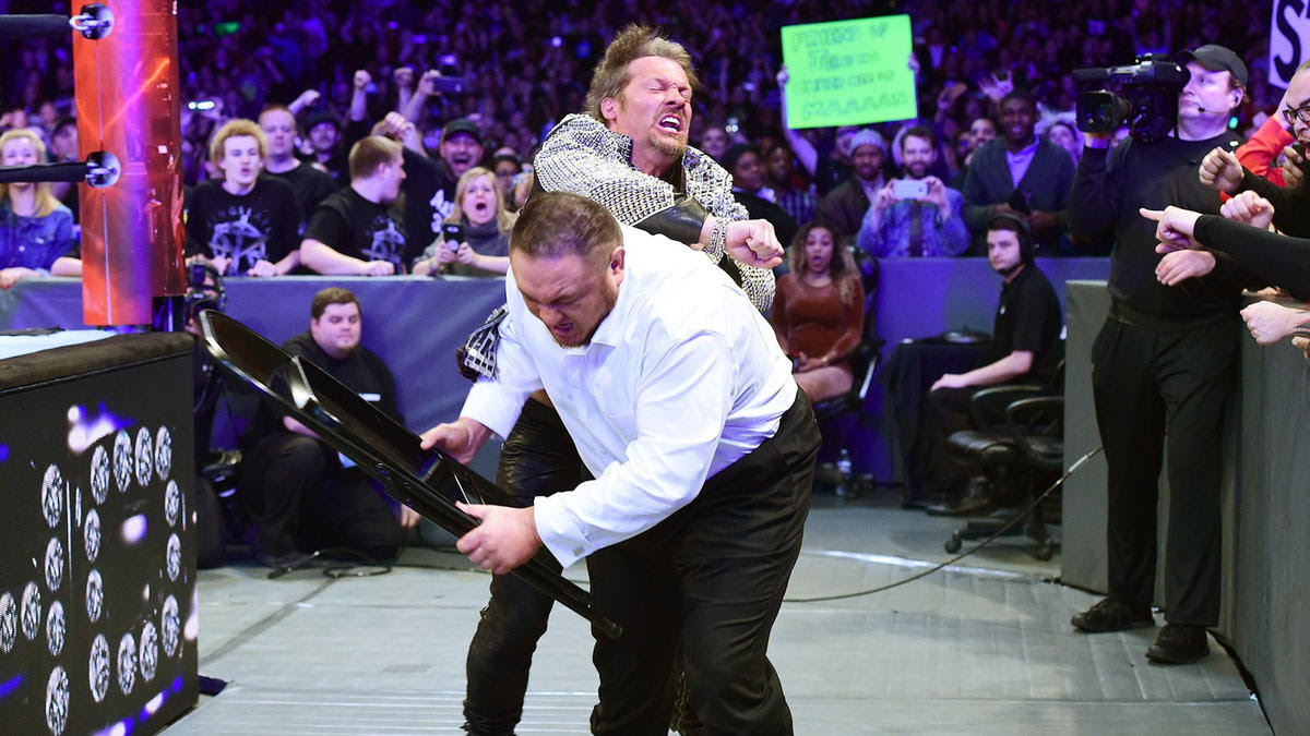 Chris Jericho attacks Joe before he can get involved in the match.