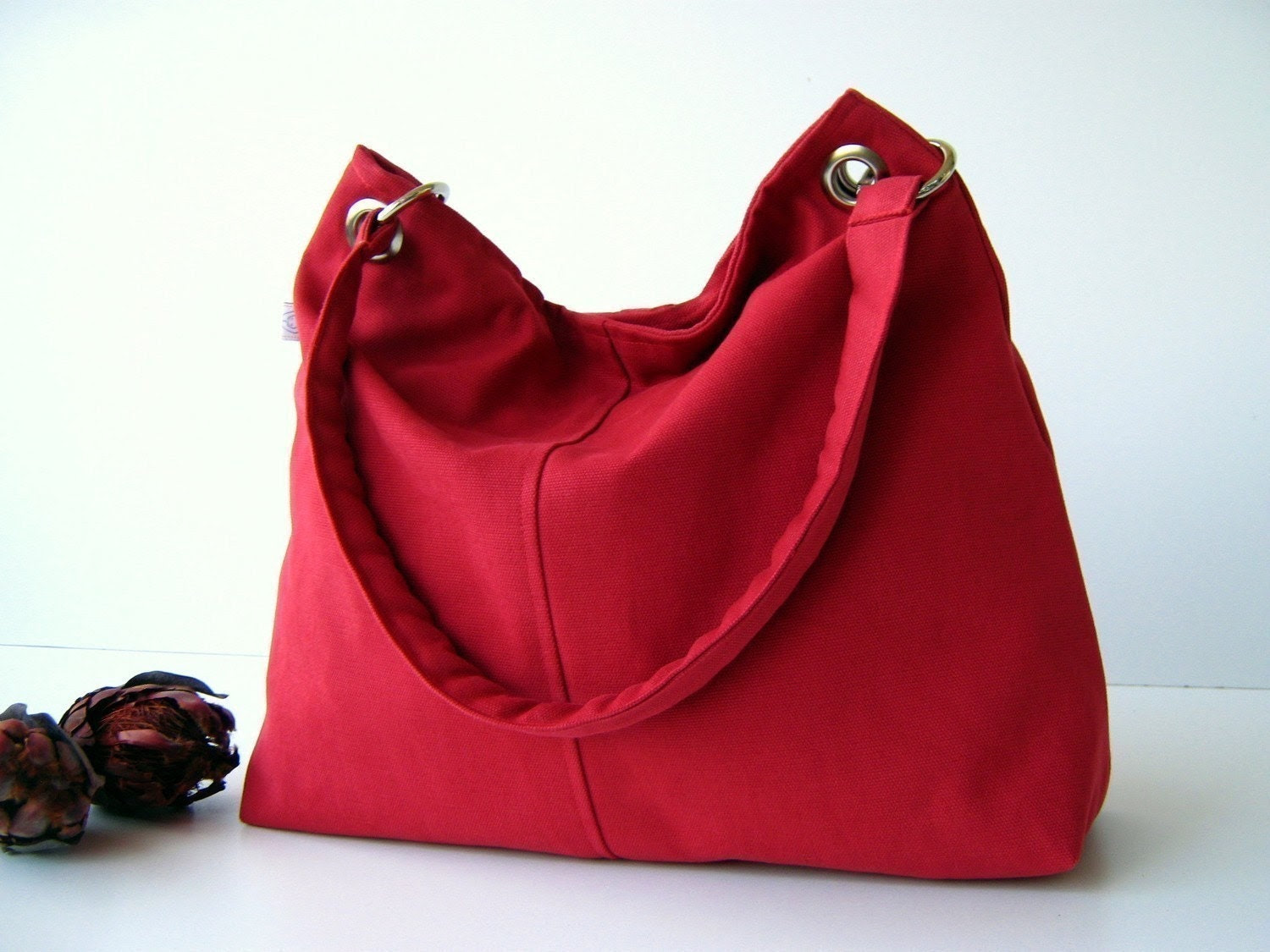 Classy Hobo Bag in Carmine Red - with top ZIPPER CLOSURE -- Large