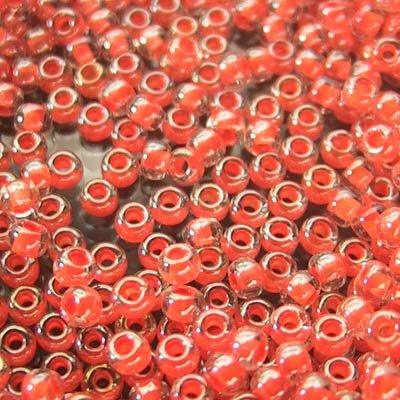 tb11r313 Japanese Seedbeads - 11/0 Toho Seedbeads - Colour Lined Orange Crystal