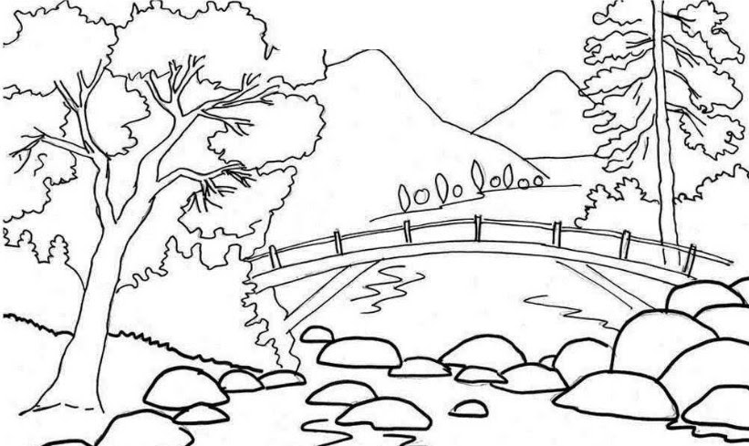 Sketsa Gambar Pemandangan Gunung Auto Electrical Wiring Diagram