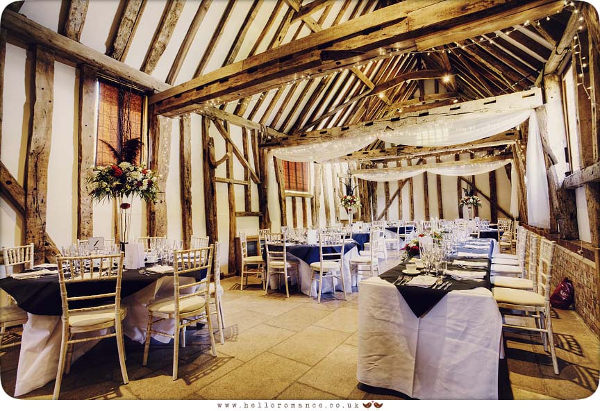 Rustic Tables set up at Haughley Park Barn Suffolk Wedding Photography - www.helloromance.co.uk