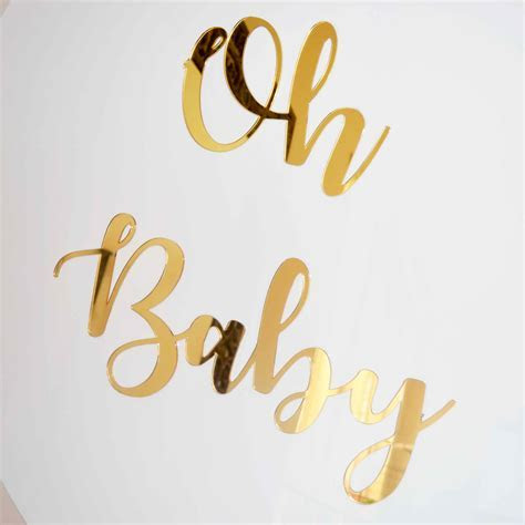 OH BABY GOLD MIRRORED SIGN   Styled Event Hire
