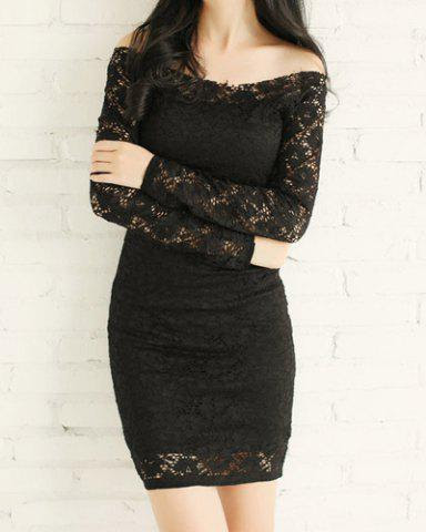 Sexy Lace Slash Collar Long Sleeve Solid Color Bodycon Slimming Women's Dress - BLACK L