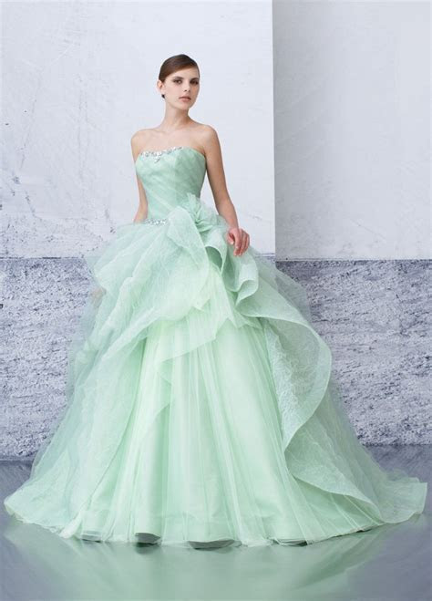 mint green tulle ballgown   Dresses   Dresses, Wedding
