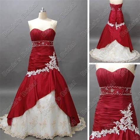 Wine Red And White Bridal Wedding Dress Sweetheart Mermaid