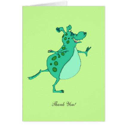 Skipping Green Alien - Thank You Card