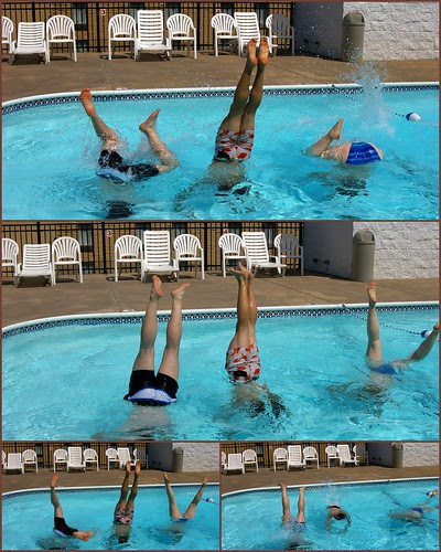 Handstand swimming contest